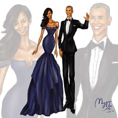 """The Obamas at the China State Dinner"" by Maggie Ai #fashion #portrait #fashionillustration"