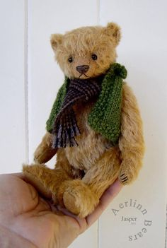 Thursday Handmade Love week 66 Theme: Teddy Bears Includes links to #free #crochet patterns  Jasper Kit for 7 Teddy Bear including knitted vest instructions  from Aerlinn Bears via Etsy