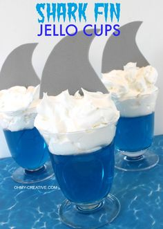 Could also do this with green jello and a mermaid tail for food at a mermaid party. Maybe some at the party would want sharks though! Shark Fin Jello Cups perfect for a shark party or celebrating Shark Week Ocean Party, Shark Party, Luau Party, Party Snacks, Beach Snacks, Summer Snacks, Shark Craft, Shark Week Crafts, Mini Desserts