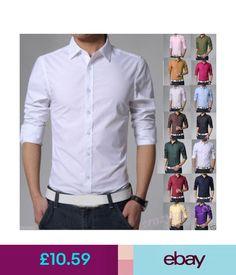 Casual Shirts & Tops Fashion Casual Business Men Slim Fit Dress Shirts Long Sleeve Tops 14 Colors #ebay #Fashion