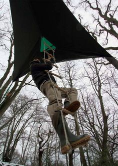 Get up into the air on your next camping trip with a hammock tree house!