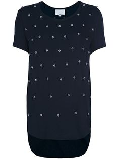 Blue silk tunic top from 3.1 Phillip Lim featuring short sleeves, round neck, curved hem and silver tone studs.