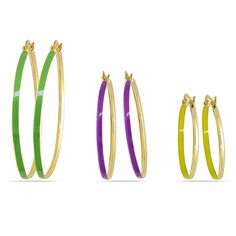 by Miadora Three-piece -Colored Enamel Hoop Earrings Women's