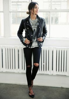lace-up flats with destroyed black jeans and a leather jacket