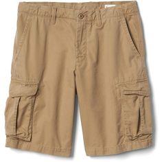 "Gap Men Cargo Shorts 12"" ($30) ❤ liked on Polyvore featuring men's fashion, men's clothing, men's shorts, mens shorts, men's apparel, mens khaki cargo shorts, mens flat front khaki shorts and mens short cargo shorts"