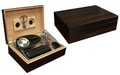 THE Davenport - Item# DVPT by Finer Things. www.finerthingsforless.com/humidors/the-davenport-item-dvpt.html Best Cigar Humidor, Buy Cigars, Cigar Boxes, Built In Storage, Other Accessories, Leather Case, Black Leather, Silver
