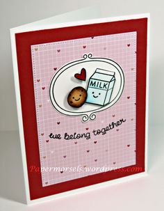 Valentine's Day card with Lawn Fawn's Cookies and Milk & Sweater Weather stamp sets by papermorsels.wordpress.com