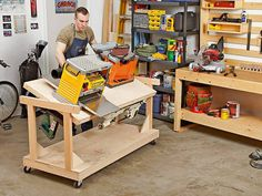 This seems like a pretty neat idea if you are short of workshop space, and self cleaning the saw dust out of machine innards each time you tip it over I guess !