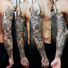 Male Vine And Leaf Tattoos Sleeve Tree Branch