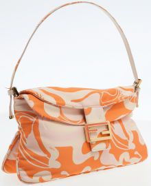 Fendi Orange Graphic Print Satin Jumbo Baguette Shoulder Bag French Fries 4bd47f692008f
