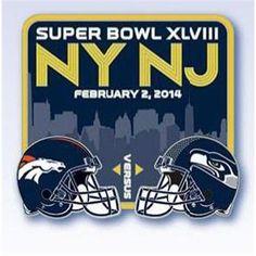 Super Bowl XLVIII 48 2014 NFL Match Up Helmet Collectible Pin - Broncos v Seahawks