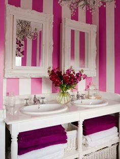 Pink, stripes, flowers, and chandeliers...need I say more?