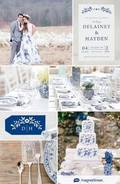 Blue and White Delft Wedding Ideas Today's blue and white Delft wedding inspiration celebrates a classic twist on a 17th century earthenware pattern. Gorgeous for a contemporary wedding, here's designer, Jen, to tell us more about the inspiration behind her new design...