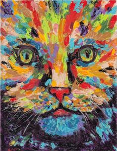 Abstract  Cat Portrait Kids Room Fun  Art  by RickyArtGallery, $69.00