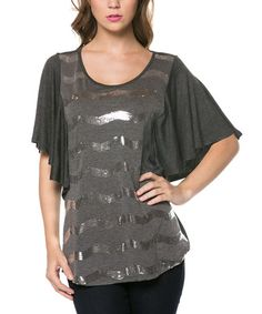 Not so sure about this one.... color is DTY T2, butterfly sleeves in T1, zigzags is T3, parallel decoration with reflectiveness is T4. Is this a nothing shirt?   Charcoal & Silver Chevron Drape-Sleeve Top #zulilyfinds