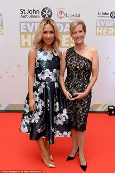 Sophie stunned as she arrived at the glamorous event wearing the knee-length dress and posed alongside Myleene Klass
