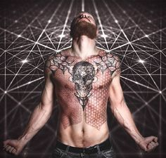This skull body art tattoo performed by Peter Madsen is something really astonishing. A beautiful tattoo in an awesome professional photograph Chest Tattoo Quotes, Tattoo Quotes For Men, Cool Chest Tattoos, Badass Tattoos, Hot Tattoos, Body Art Tattoos, Tattoos For Guys, Sleeve Tattoos, Tatoos