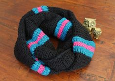 Blue & Pink on Black Infinity Scarf wrap fit by nimwitstudio, €35.00