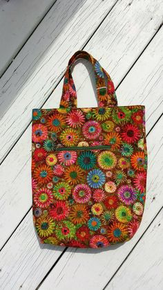 Floral tote bag with zipper compartment by EllensGypsyGalleria, $20.00