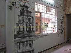 Vẽ tranh tường quán cafe theo yêu cầu