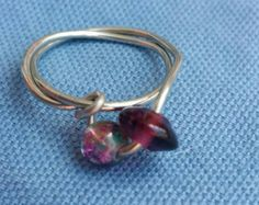 Check out Beaded ring, bead ring, wire ring, crystal ring, crystal bead ring, bead, crystals on doubledzbeadz