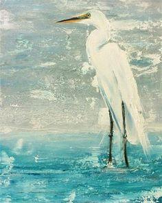 Great White Egret - Original Fine Art for Sale - © by Sunny Avocado