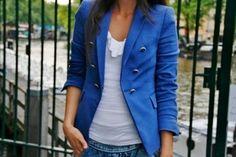 blue jacket.