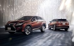 Download wallpapers Lexus RX, 2018, luxury SUV, brown RX, Japanese cars, RX 450h L, Lexus