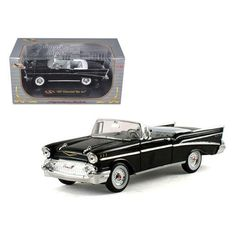 1957 Chevrolet Bel Air Convertible Black 1/32 Diecast Model Car by Signature Models
