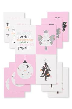Christmas Card 12Pk With Envelope1, PINK/WHITE TREE