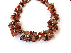Agate necklace Carnelian necklace Short necklace by BeadsAndKnotsByNina