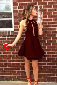 burgundy homecoming dresses,homecoming dresses short,keyhole homecoming dresses,cheap homecoming dresses @simpledress2480