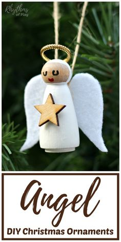 DIY Angel Christmas DIY Angel Christmas Ornament - Make homemade angel ornaments for your Christmas tree this year. An easy handmade holiday ornament decoration and Christmas craft for kids and adults made with wooden peg dolls felt and paint. Homemade Christmas Crafts, Christmas Crafts For Adults, Christmas Ornaments To Make, How To Make Ornaments, Christmas Angels, Christmas Diy, Christmas Decorations, Christmas Poinsettia, Crochet Christmas