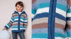 Trop cool la veste à capuche en rayures géantes. A tricoter en jersey dans de belles couleurs, elle est fermée devant par un zip.  Tailles : a) 4 ans; b) 6 ans; c) 8 ans; d)10 ans; e) 12-14 ans. ... Cardigan Pattern, Sweater Cardigan, Men Sweater, Easy Crochet Blanket, Crochet Baby, Crochet Braids Marley Hair, Boys Sweaters, Cardigans, Do It Yourself
