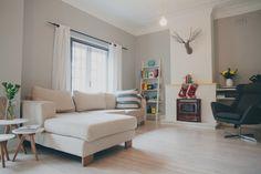 Light space, white wooden floors.