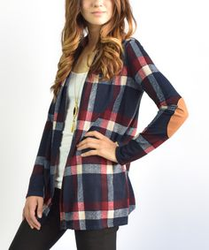 Loving this Navy Plaid Elbow Patch Cardigan on #zulily! #zulilyfinds