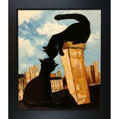 Atelier De Jiel ' Cat with his Pretty on Paris Roofs' Framed Fine Art Print