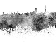 Johannesburg skyline in black watercolor on white background by Pablo Romero City Skyline Wallpaper, Johannesburg Skyline, Black And White City, Orange Art, Art Club, Watercolor, Prints, Cityscapes, Photography