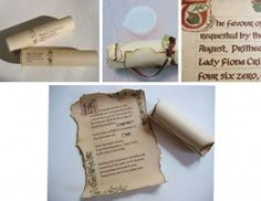 Erin Blankley, creates all kinds of offbeat custom invitations and announcements like this medieval scroll