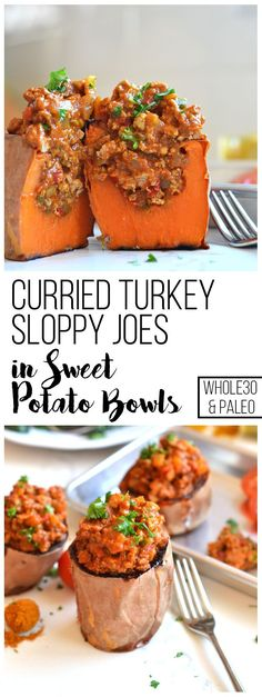 These Curried Turkey Sloppy Joes in Sweet Potato Bowls are the perfect healthy comfort food for your whole30! Packed with nutrients and flavor for a balanced dinner!