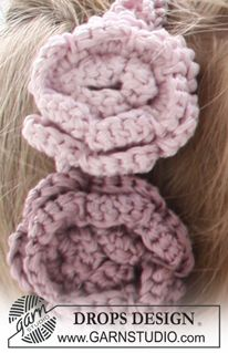 "Crochet DROPS hair band with crochet flowers in ""Cotton Viscose"". ~ DROPS Design"