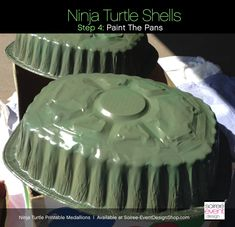 turtle-party-shell-paint - not for ninja turtles but maybe for turtles? 2 pans together with cardboard flippers/head 5th Birthday Party Ideas, Party Themes For Boys, Diy Birthday Decorations, Ninja Turtle Shells, Ninja Turtles, Ninja Turtle Birthday, Ninja Turtle Party, Birthday Breakfast For Husband, Husband Birthday