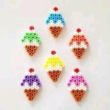 Ice cream hama beads by buntelaube Perler Bead Designs, Easy Perler Bead Patterns, Melty Bead Patterns, Perler Bead Templates, Hama Beads Design, Diy Perler Beads, Perler Bead Art, Pearler Beads, Fuse Beads