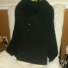 2 PC BLACK SWEATER SET BY CASLON SZ 1X Sleeveless under sweater with a button front long sleeve over sweater. Neckline of oversweat r r has a sexy chiffon type tiny detail around neck.  Not overt but classy sexy! Caslon Sweaters