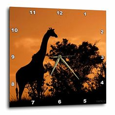 3dRose dpp_45674_2 Giraffe Near Acacia Tree Sillouetted Against The Sky at SunsetSerengeti National Park TanzaniaWall Clock 13 by 13Inch >>> Check out this great product.