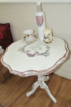 My latest shabby chic side table coffee table project. By Donna Wilkinson Repurposed Furniture, Shabby Chic Furniture, Shabby Chic Decor, Furniture Decor, Chalk Paint Projects, Chalk Paint Furniture, Decoupage Furniture, Shabby Chic Side Table, Rustic Table