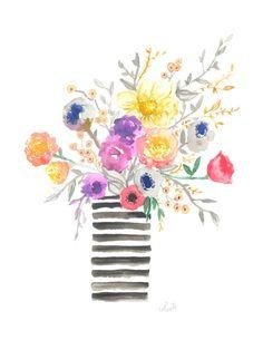 "the ""MADELINE JANE"" - summer floral bouquet arrangement watercolor poster print"