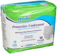 Presto Protective Underwear, X-Large, 14-Count (Pack of 4) by Presto. $39.99. http://yourdailydream.org/show/dpclp/Bc0l0p1vPvBsEqMnNl4a.html