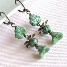 Turquoise Earrings - Jewelry, Czech Glass Leaf, Flower, Brass. $24.00, via Etsy.