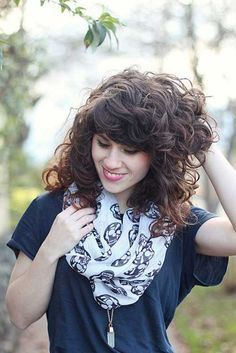 Curly Haircuts with Bangs